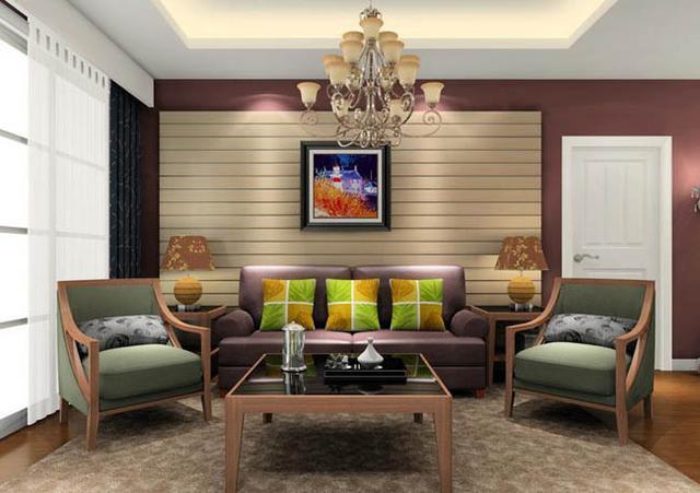 客厅沙发茶几组合装修效果图高清图片