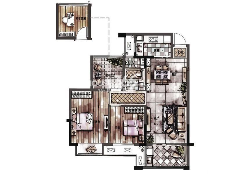 西湖君庭4#5#8#12#标准层F户型三房二厅一卫89㎡
