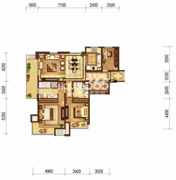 富力十号C区137平方米户型