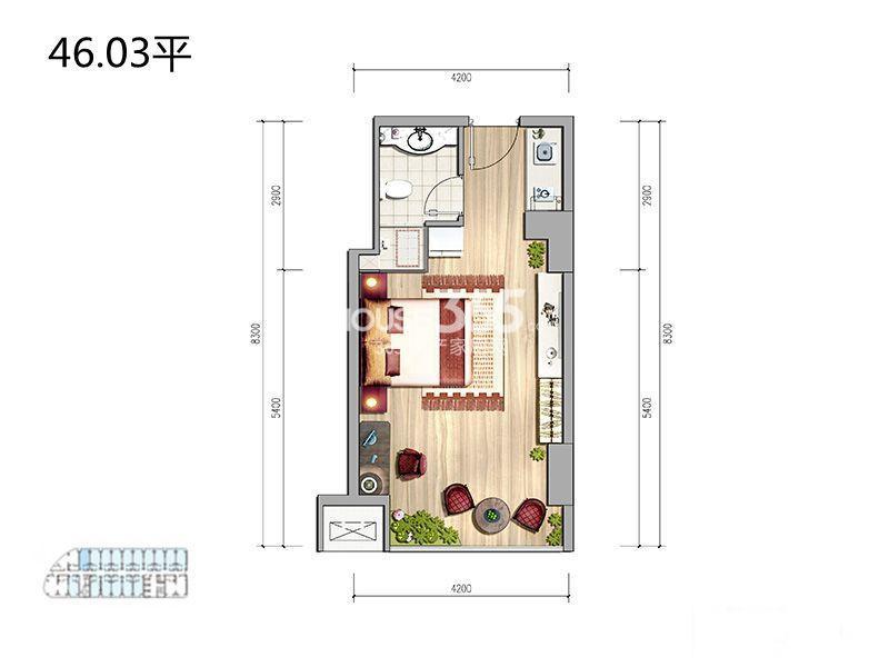 MOMOPARK公寓1室1卫1厨 46.03㎡