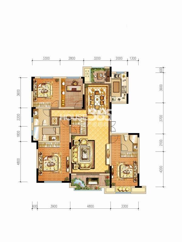 中铁琉森水岸A5户型图4室2厅1厨3卫164平方米