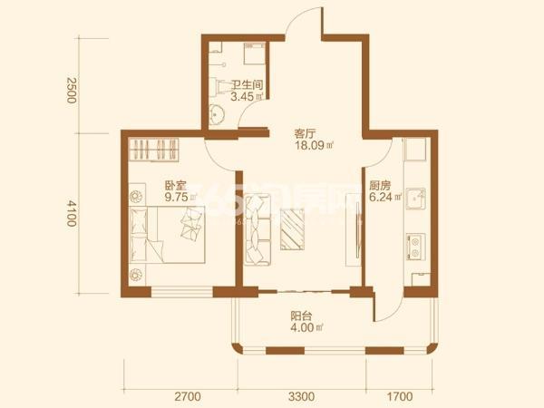 C户型1室1厅1卫