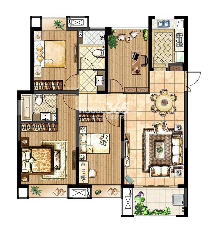 中电颐和府邸一期高层标准层-C户型  3+1房两厅两卫