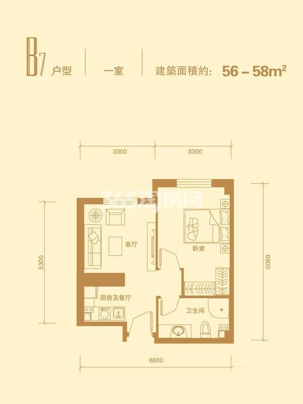 B7户型 1室1厅1卫  56-58平米