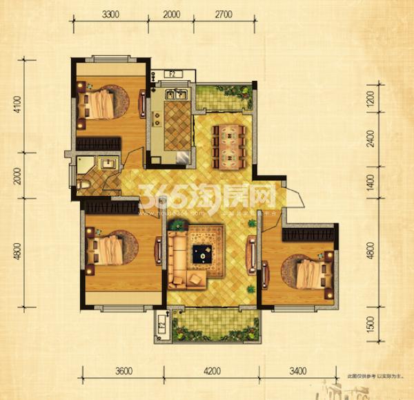 30#32#绿地世纪城布鲁斯小镇户型图 三室两厅一卫 113.87-117.57平方米
