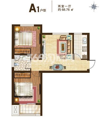 A1户型 2室1厅1卫 68.76平米