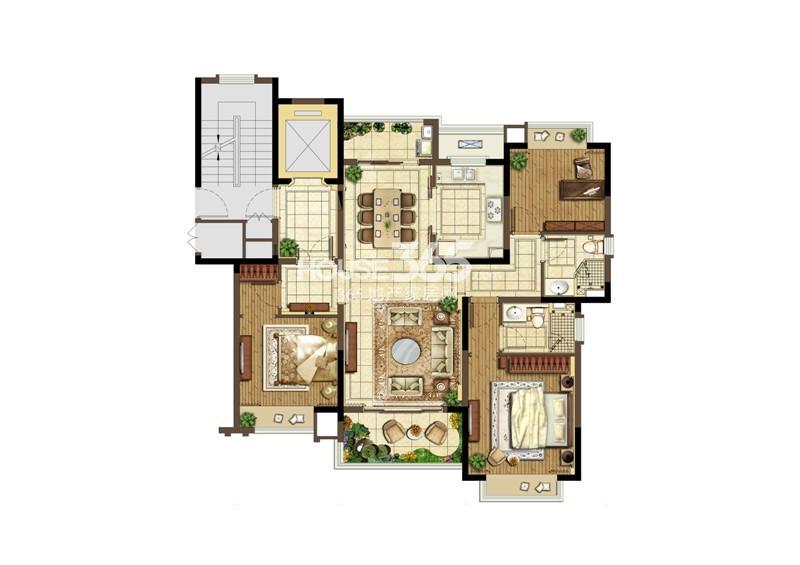 宏图上水云锦一期标准层B户型 3室2厅2卫1厨126㎡