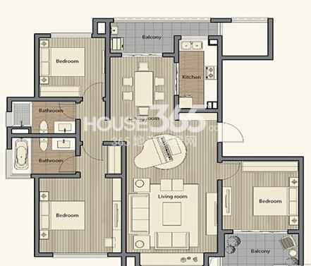 仁恒棠悦湾15#18#20#幢标准层D户型4室2厅2卫1厨140㎡