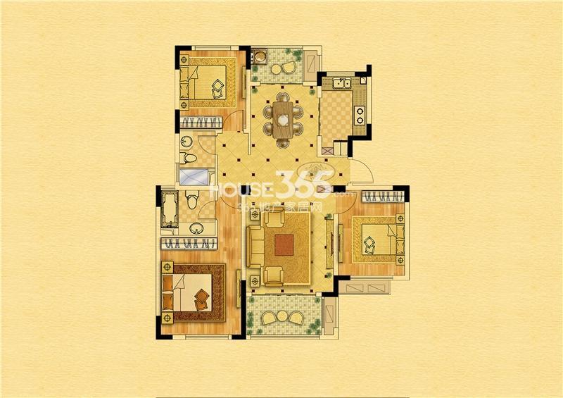 中南锦苑113㎡-1#2#7#8#-三室两厅一厨两卫