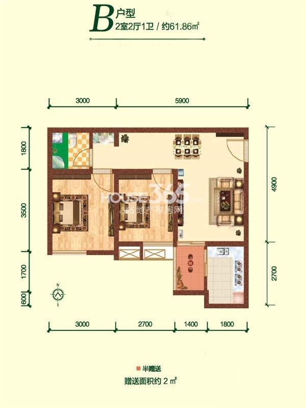 融尚中央住区6、7#楼B户型两室两厅一卫61.86㎡