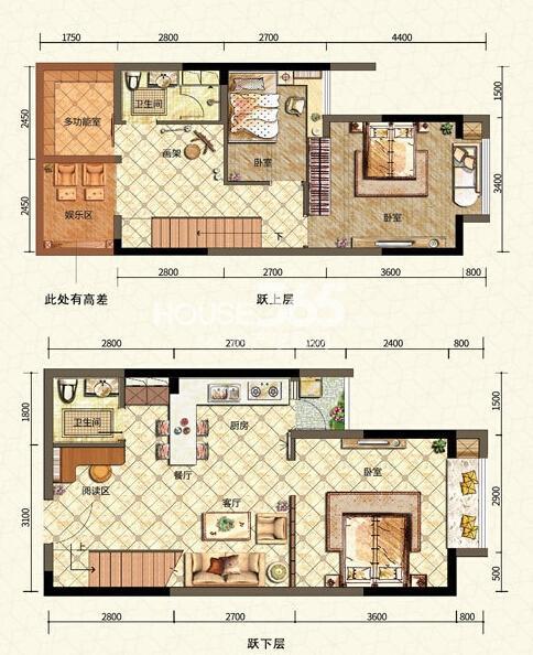 二期6号楼标准层A户型 三室一厅一厨两卫 52平米