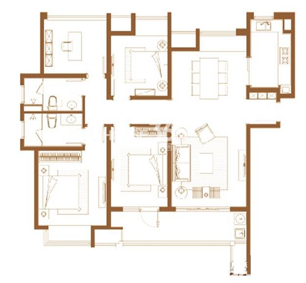九龙仓碧堤半岛精装高层户型图4室2厅2卫140平
