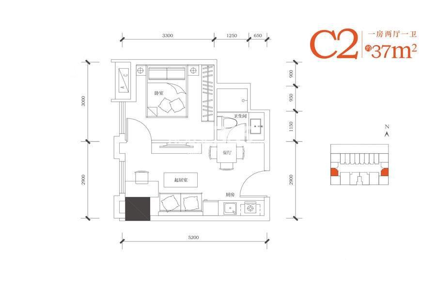 合能朱阙C2户型一室两厅一卫37㎡