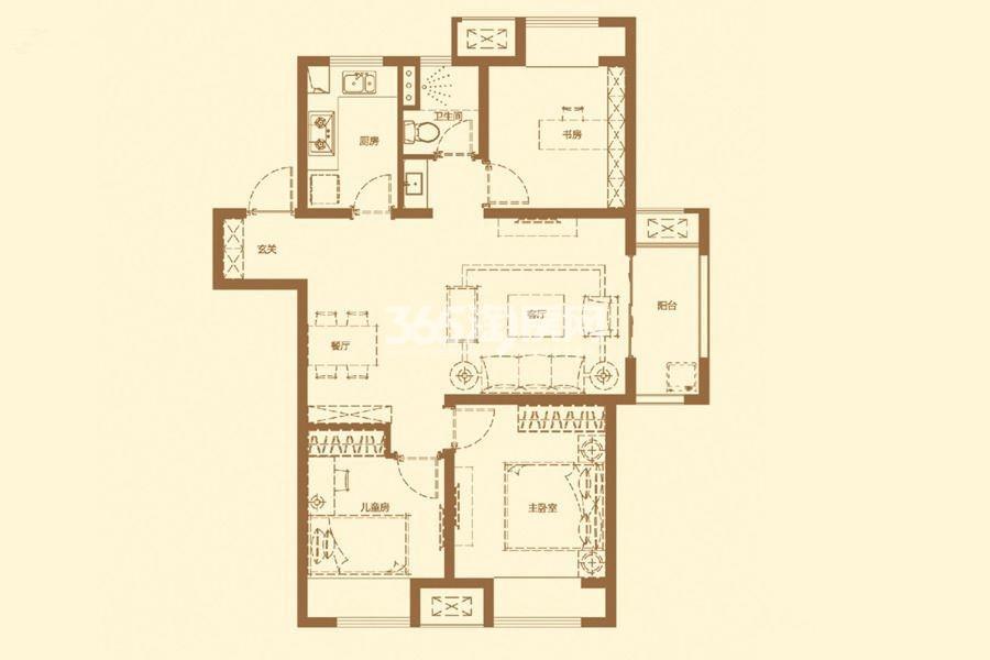 厨房 两室两厅一卫 面积:74㎡_徐州万科橙郡_徐州新房