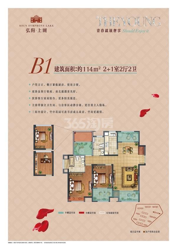 弘阳上湖B1户型图114㎡2+1室2厅2卫