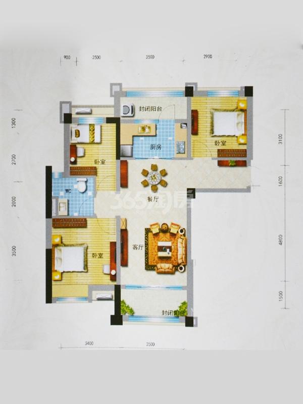 J552T(B)户型 面积:约100㎡ 三室两厅一厨一卫