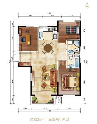 洋房A1户型 3室2厅1卫 136平米(售完)