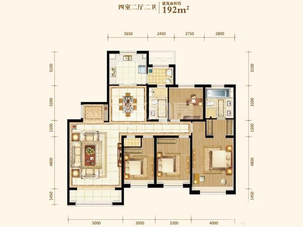 192平户型 4室2厅2卫1厨 192