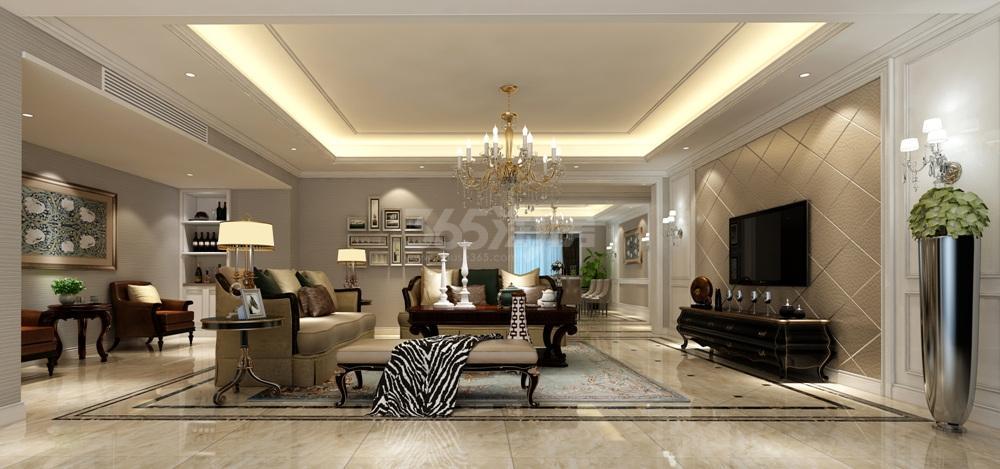 高科荣境桂山堂251㎡一层客厅效果图