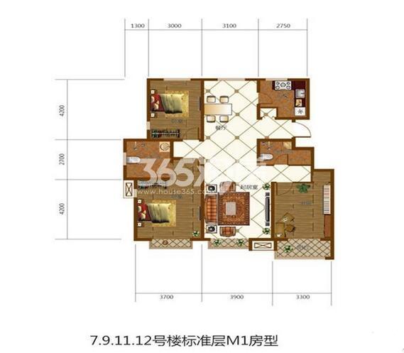 标准层M1户型139㎡3室2厅1厨2卫