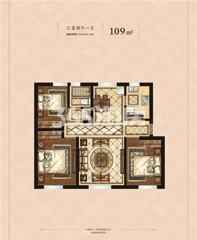 高层标准层 3室2厅1卫 109平米