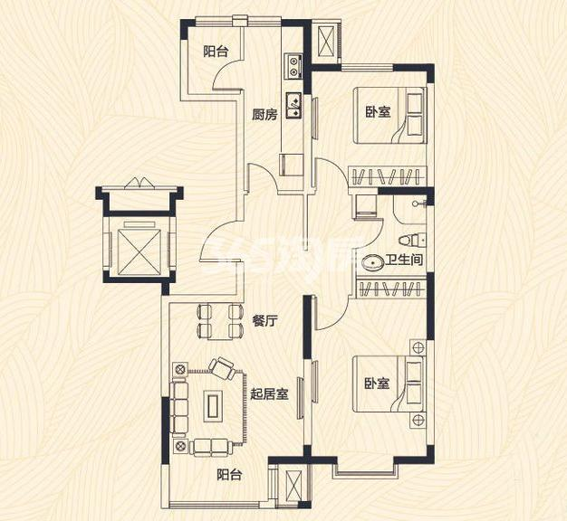 洋房 2室2厅1卫 97/99平米