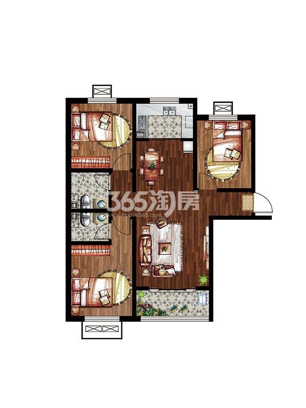 秀水名邸9#楼三室两厅两卫A户型114平米