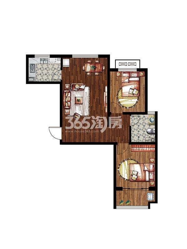 秀水名邸9#楼C户型两室两厅一卫87平米