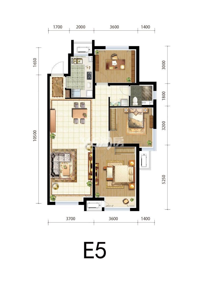三期E5户型三室两厅一卫118平米