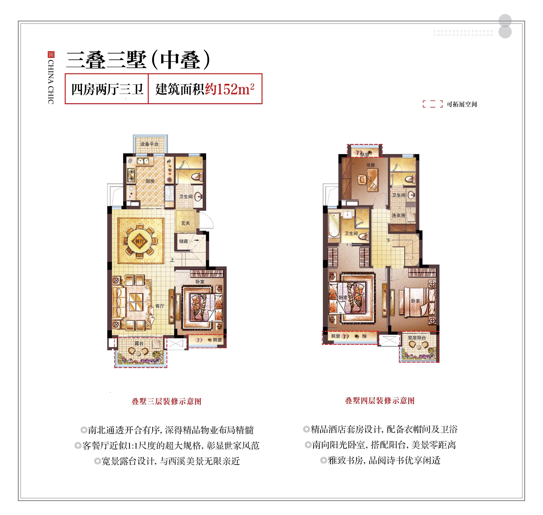 金地西溪风华项目三叠三墅(中叠)户型
