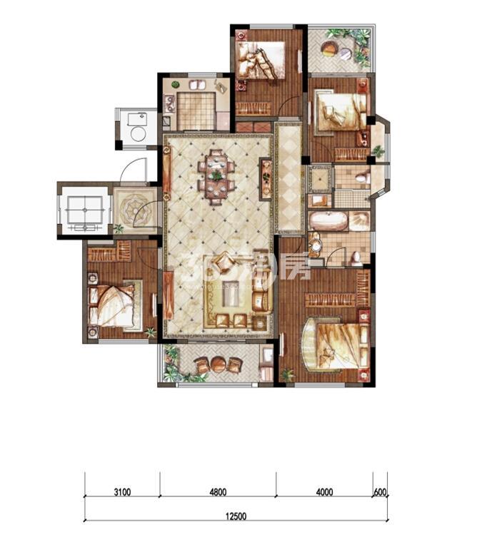 1-3洋房三层东边01室C-1户型 143㎡
