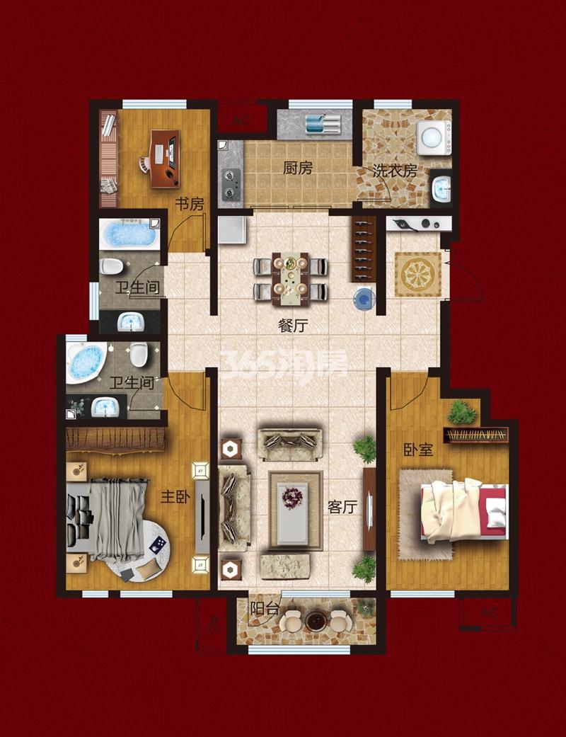 洋房125平米 三室两厅两卫