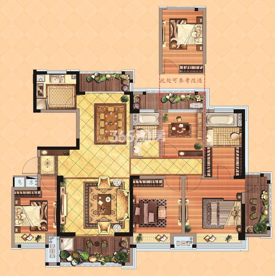 住宅D1户型 4室2厅 143平