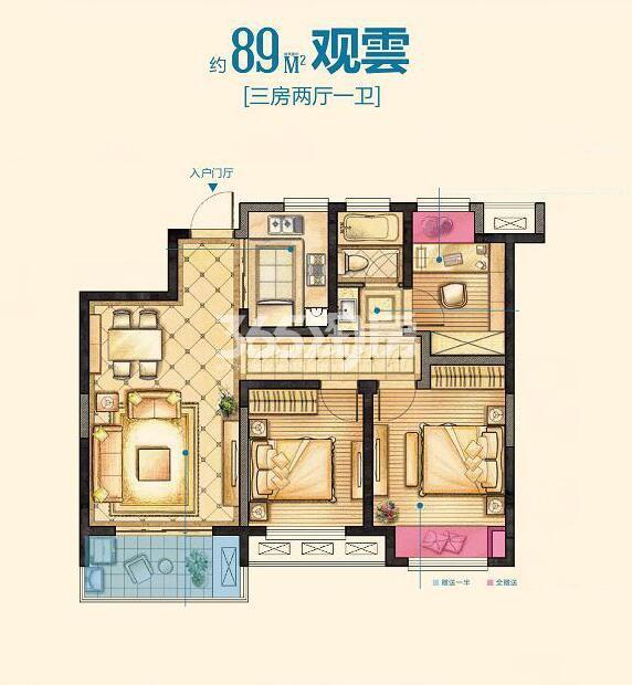 红豆香江豪庭二期89平关雲户型图