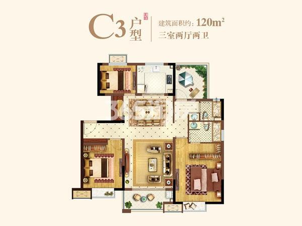 洋房C-3户型120㎡三室两厅两卫
