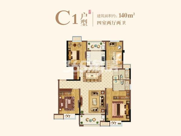 洋房C1户型140㎡四室两厅两卫