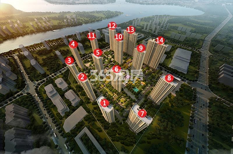 中国铁建万科江湾城鸟瞰图