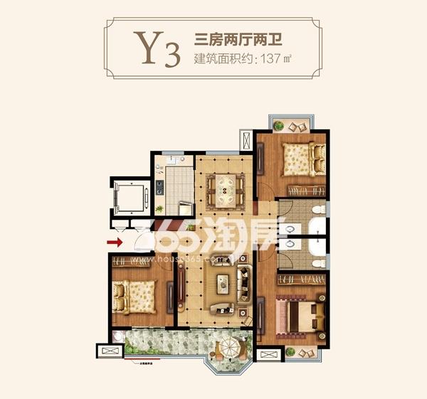 Y3户型三房两厅两卫