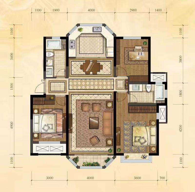 134平米 3室2厅2卫