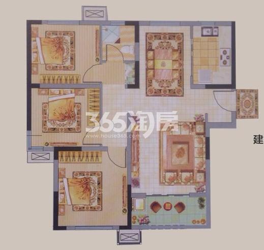 中建昆明澜庭E户型图3室2厅1厨1卫100.69㎡