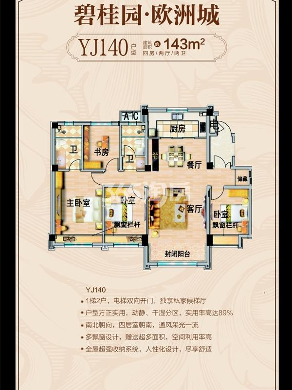 YJ140户型建筑面积143㎡