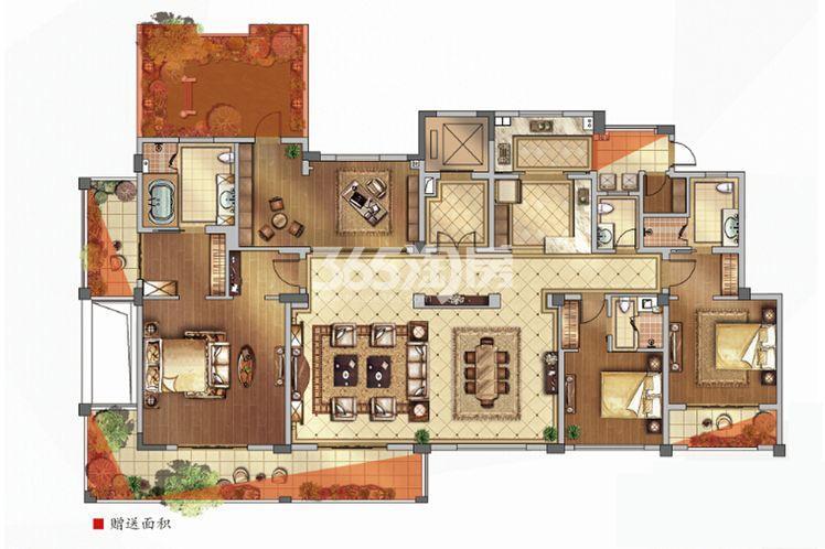 绿地西水东中央生活区洋房4B标户型254平户型图
