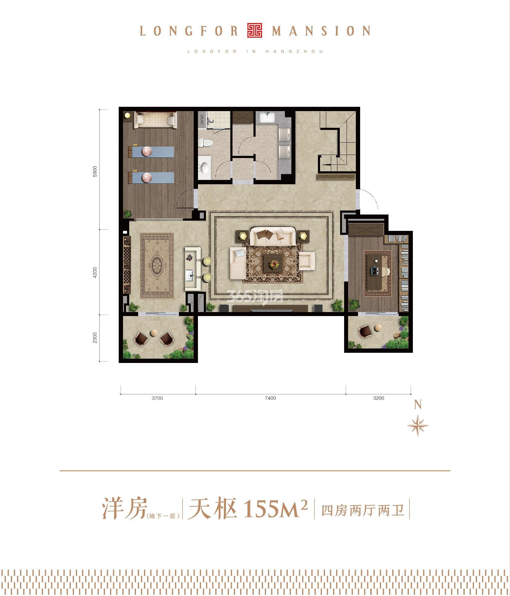 龙湖天钜洋房天枢155㎡地下一层(1-7#)