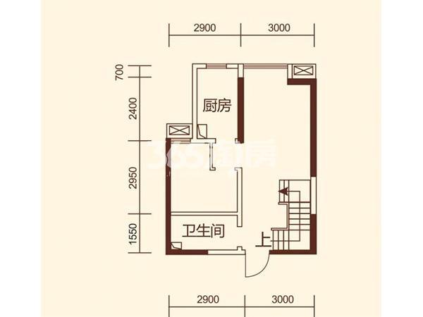 A1'户型 3室2厅2卫 建筑面积约96.01平米