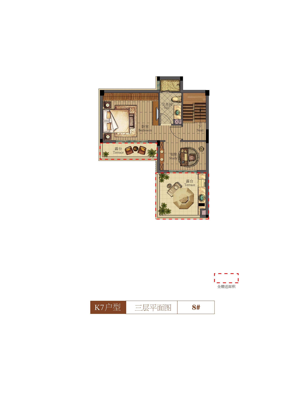 祥生群贤府8号楼K7户型三层 142.94㎡