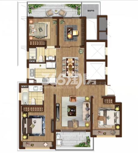湖悦户型四室两厅两卫 150平