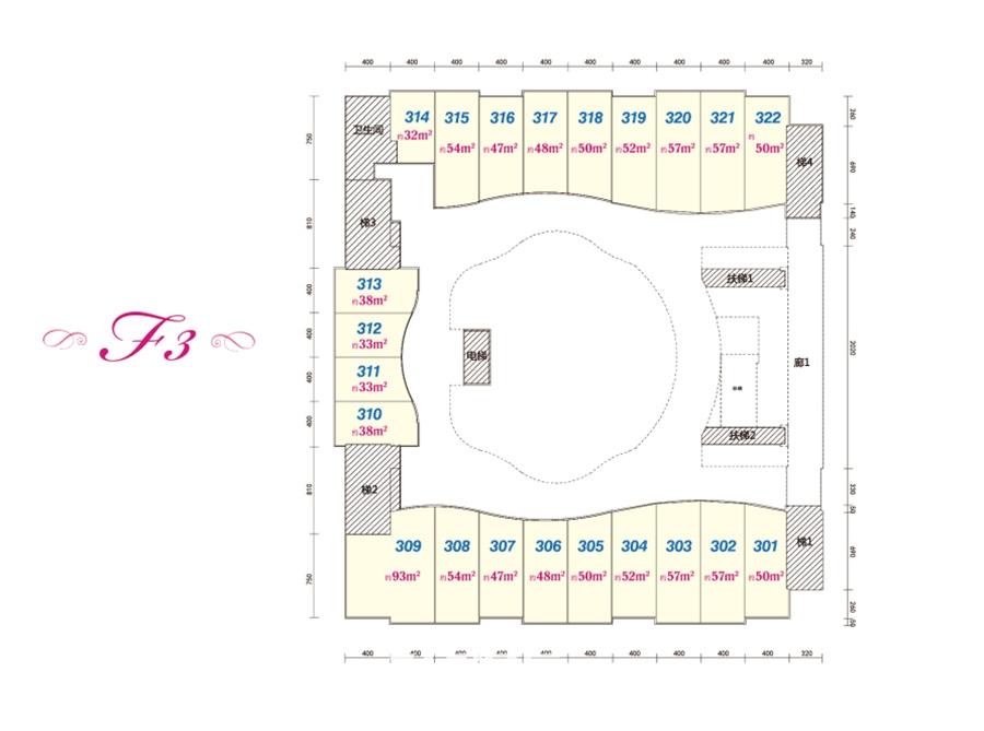 中国铁建国际公馆商铺三层户型(32-93㎡)