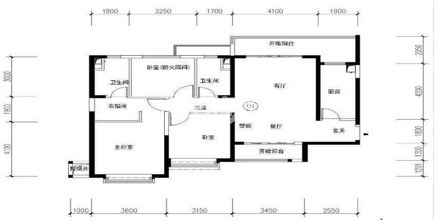 恒大国际城21#,22##C户型3室2厅2卫1厨 128.00㎡