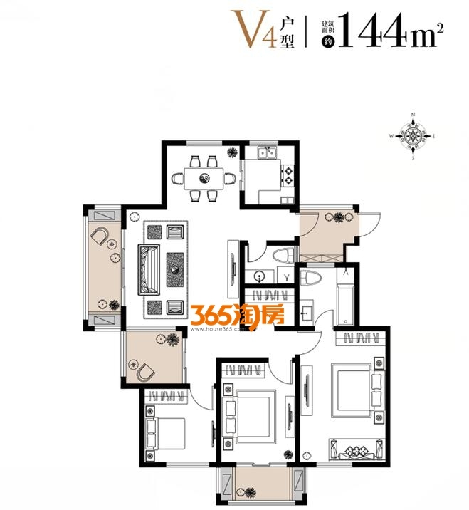 栖霞东方天郡三期洋房V4户型144平户型图
