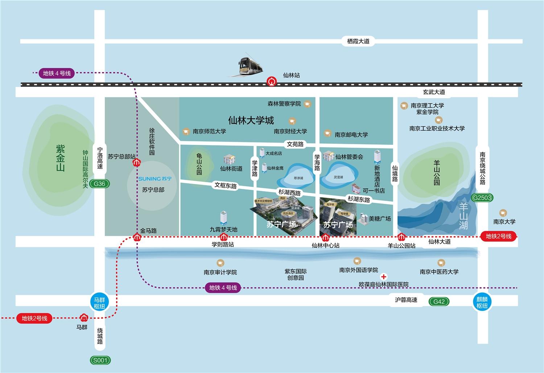 仙林苏宁广场交通图
